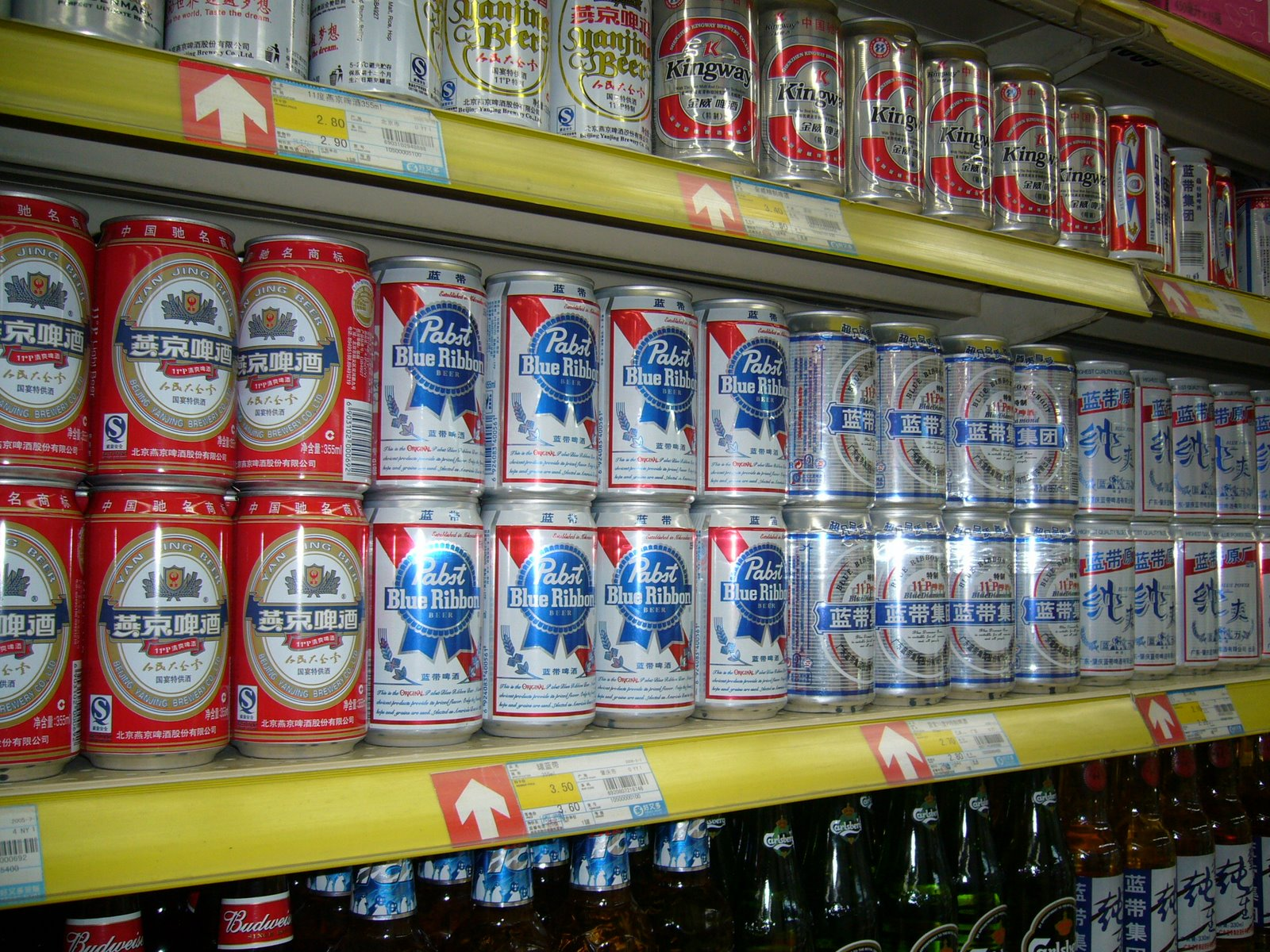 pabst beer, selling at about 30 cents per can